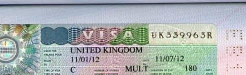 Внешний вид визы в Англию