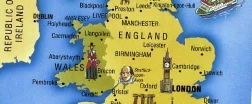 карта Англии с городами