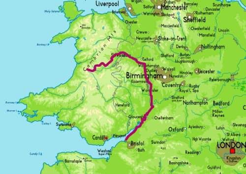 Расположение реки Северн на карте Англии